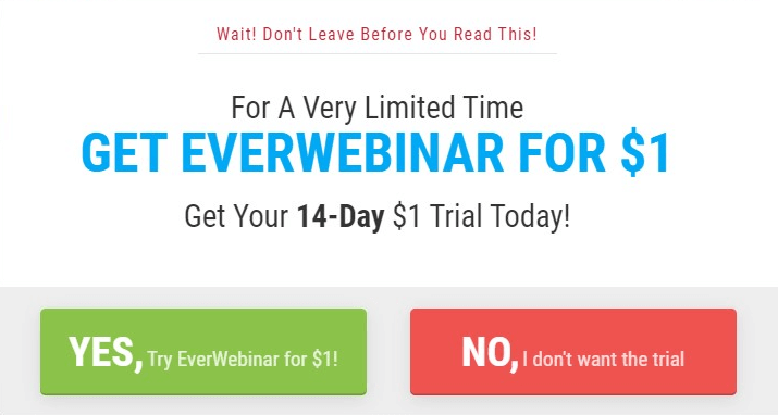 screenshot of 14-day trial for $1